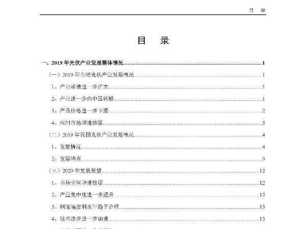 太阳能光伏发电产业十周年版《2019-2020年中国光伏产业年度报告》