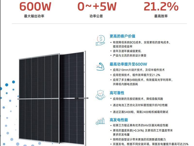 天合光能600w天合组件天合光能太阳能板