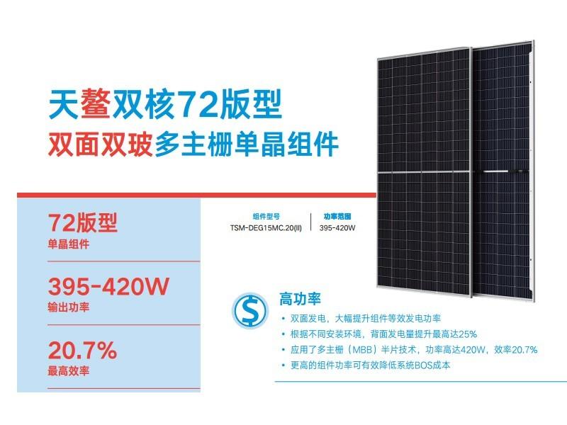 双玻双面天合光能太阳能板天鳌双核DEG17MC.20(II)