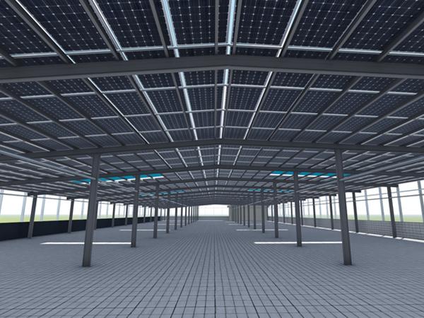 塘厦382KW工字钢防水棚架光伏发电项目案例